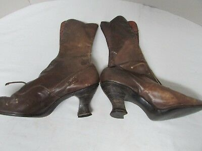 Vintage Victorian 1900's Ladies Lace-up Heeled Boots Hamilton - Brown Makers