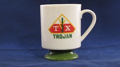 Vintage Trojan TX Seed Corn Ceramic Coffee MUg with Green Pedestal