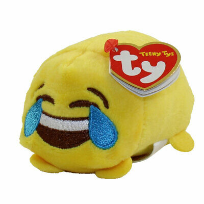 "TY Beanie Boos Teeny Tys 4"" HAPPY Emoji Stackable Plush w/ Ty MWMT's Heart Tags"