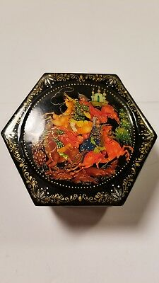 Vintage Signed Russian Hand Painted Lacquer Box 3 Signatures