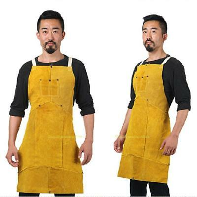 Sleeveless Leather Welding Coat Apron with Pocket Protective Clothing Welder New