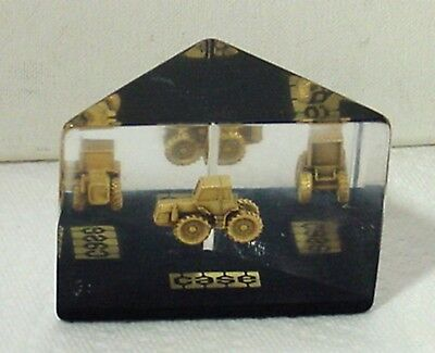 Case  Tractor & Implement Co Lucite Paperweight With Miniature Tractor