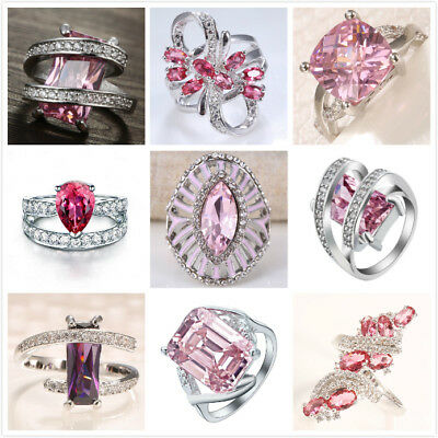 925 Silver Women Pink Sapphire Gemstone Ring Elegant Wedding Engagement Size6-10