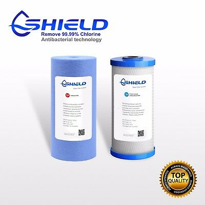 """10"""" x 4.5"""" Whole House Big Blue Water Filter Cartridges  Antibacterial Pack"""
