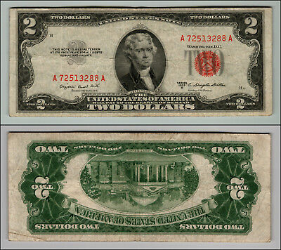 1953B $2 Dollar Bill Old Us Note Legal Tender Paper Money Currency Red Seal W400