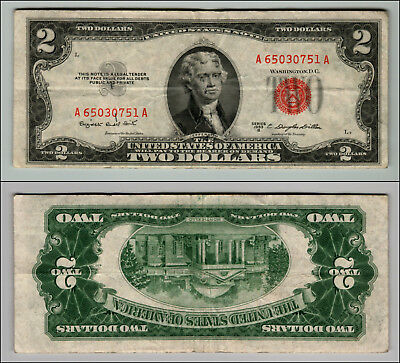 1953B $2 Dollar Bill Old Us Note Legal Tender Paper Money Currency Red Seal W404