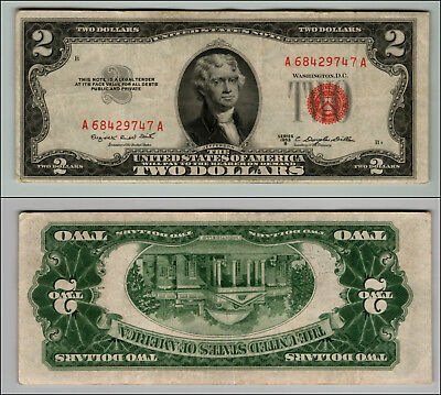 1953B $2 Dollar Bill Old Us Note Legal Tender Paper Money Currency Red Seal W408