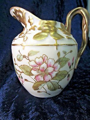 Antique Carlsbad Pitcher Hand Painted & Gilded Florals  Austria C. 1880