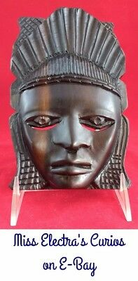 Vintage Hand Carved African Tribal Dark Heavy Ebony Wood Face Mask Wall Hanger