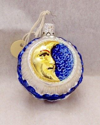 Inge-Glas  Old World Christmas Blown Glass  Moon and Star Ornament