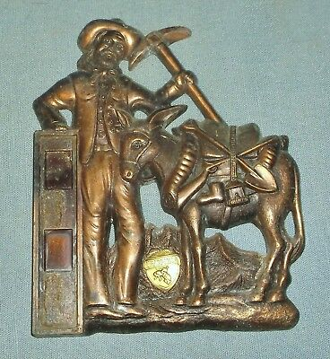 Vintage Copper Plated Miner w/ Pack Donkey Thermometer Plaque Wyoming Souvenir