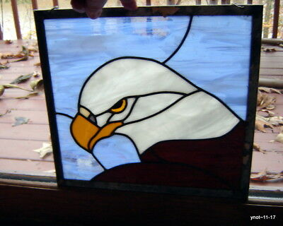 hand-crafted stained leaded Art Glass AMERICAN EAGLE Trans-light~Sun Catcher