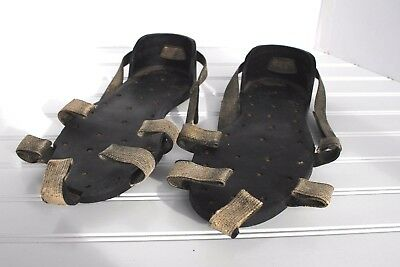 """Antique Vintage Korkers Rubber Ice Walking Metal Spike Shoes Soles 11"""" USA"""