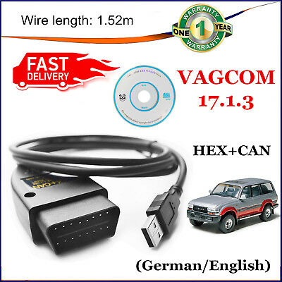 HEX-USB+CAN VCDS 17.3.1 Cable USA SELLER VOLKSWAGON 2001-2014 + Wire German/Eng