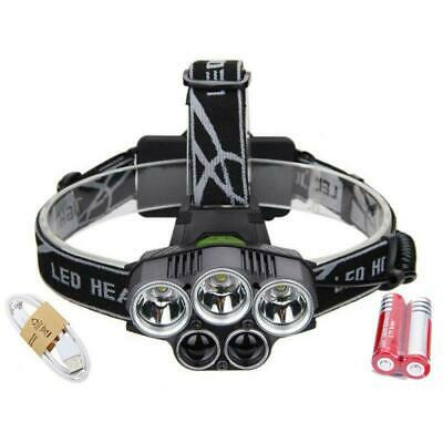 New Arrival 80000LM 5Modes 5-LED Headlamp Light Blue/White Light Charge by USB