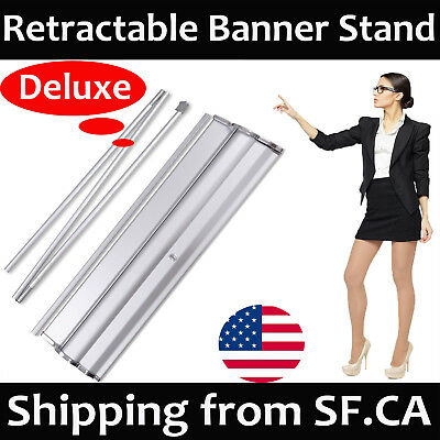 "Deluxe Retractable Roll Up Banner Aluminum Stand Trade Show Display 33.5"" x 80"""