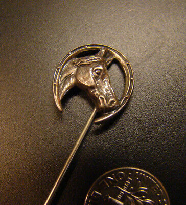 Sterling silver signed BEAU Sterling detailed horse in horseshoe, Hat pin