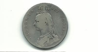 Great britain Uk 1889  1/2 crown silver coin