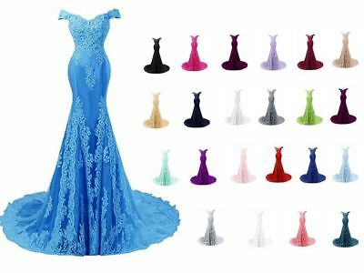 New Long Bridesmaid Lace Prom Dresses Formal Wedding Evening Party Gown Stock