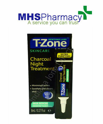 T-Zone Skincare Charcoal Night Treatment Pore Minimiser No Parabens Mineral Oil