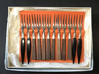 Vintage Retro Hors D'Oeuvres COCKTAIL FORKS Wood, Plastic Stainless Steel, Japan