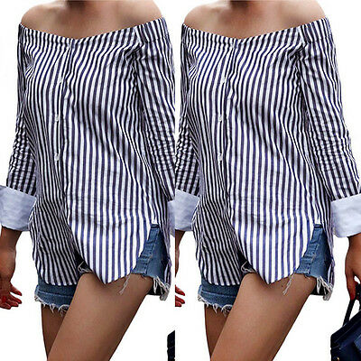US STOCK Ladies Vintage Off-shoulder Casual Tops Casual Party Striped Blouse