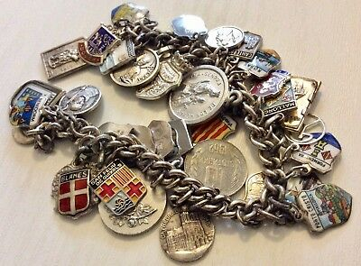 Lovely Very Heavy Early Vintage Solid Silver Charm Bracelet Enamel & Places Nice