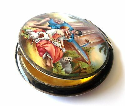 Vintage Sterling Silver Painted Scene Of Lovers Compact Sterling Hallmark