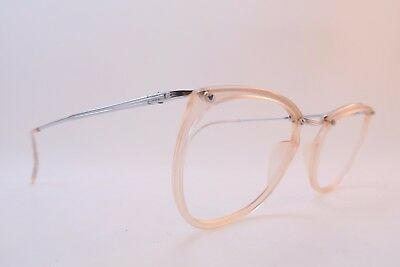 Vintage 50s RUBIS by ESSEL eyeglasses frames clear light peach made in France