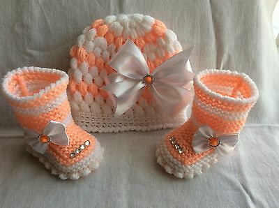 hand knitted /crochet baby girl booties/ crochet hat 0-3 months
