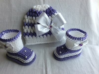 Hand knitted /crochet baby girl booties/crochet hat 0-3 months