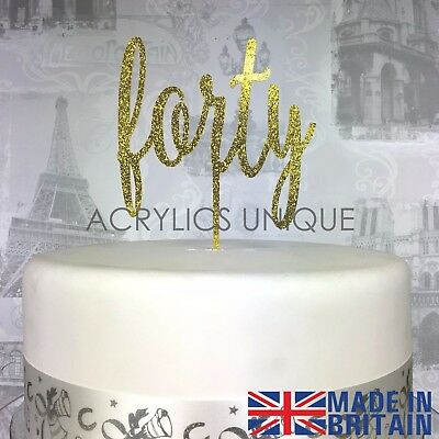 40th Birthday acrylic forty cake topper gold rose glitter 19 COLOURS AVAILABLE