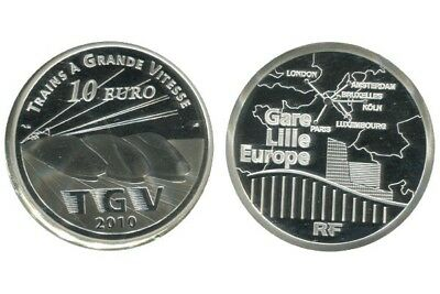 France 10 Euro 2010 Lille Europe Tgv Tirage 30 000 Be Pp Proof