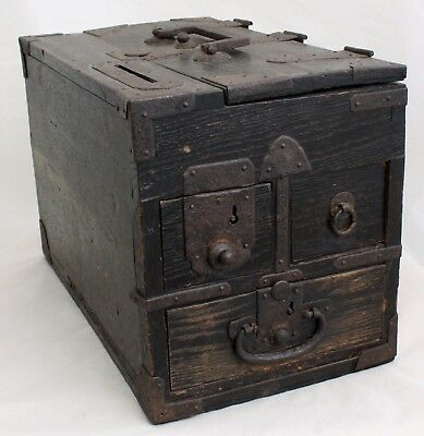Antique Japanese Meiji Wood Iron Zenibako Money Box Coin Chest