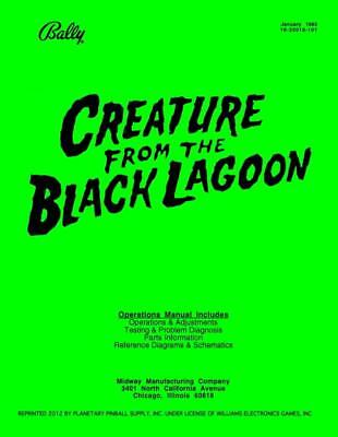 Creature From Black Lagoon Pinball Game Service/Repair Manual CFTBL Bally    PPS