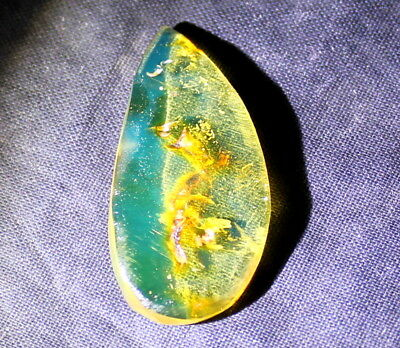 Dominican Clear Sky Blue Amber Polished Stone Pendant 30x14x5mm