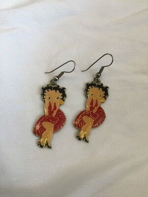 Vintage Betty Boop Earrings Jewelry Hooks Lady with Red Dress