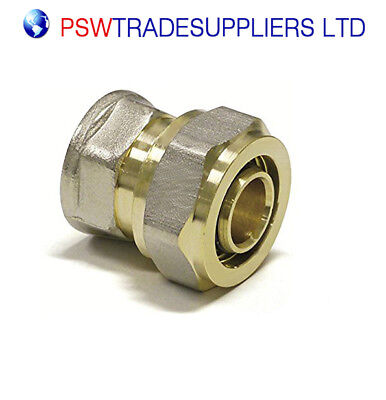 "Female Straight Connector 16mm PEX/ALU/PEX X 1/2"" - COMPRESSION Fit"