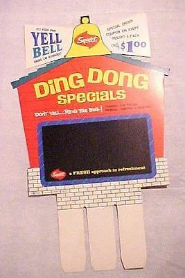 Vintage Squirt Soda - Cardboard Carton Advertising Sign Ding Dong Specials Qty 2
