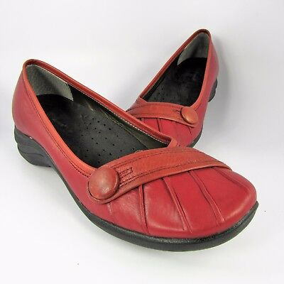 1ab60d447d057 Hush Puppies Sonnet Flats Womens Size 9.5M Red Leather Zero G Slip-Ons  Loafers