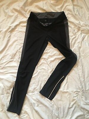 Xersion long men's tights Black size Large zipped ankles grey stripes