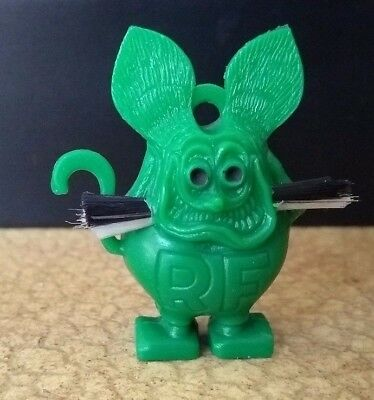 Green RAT FINK Charm with Black Eyes and Whiskers