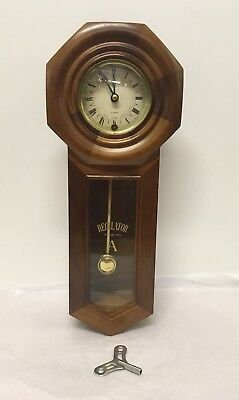 Vintage Mahogany Regulator A Wall Clock 31 Day. With Key.