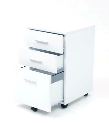 Chest of Drawers Furniture Chest Office MDF White with Wheels cm 40x44x65 H