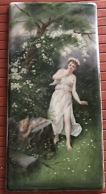 HP Porcelain Plaque German Signed Kaulbach? Maiden Nymph Cherub Garden 1800's Lg