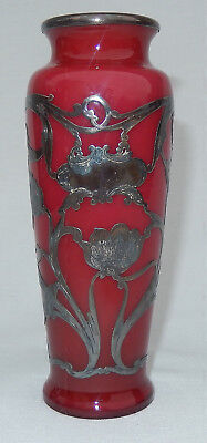 "Red Cased Vase W/Sterling Silver Overlay, 6"" Webb & Sons Attribution"