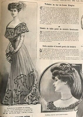 French MODE ILLUSTREE SEWING PATTERN Oct 28,1906 BALL GOWN, DOLL DRESS