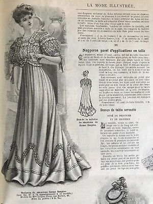 French  MODE ILLUSTREE SEWING PATTERN July 29,1906 BALL GOWN (Empire shape)