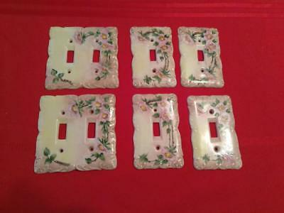 Light Switch Plate Covers Vintage 1940s Porcelain Floral Hand Painted Signed