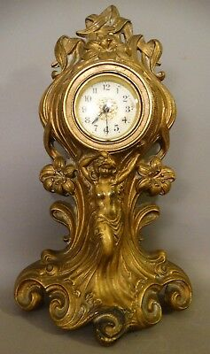 Ca.1920 Antique ART NOUVEAU Cast Iron NUDE LADY Figural BRONZED Statue CLOCK